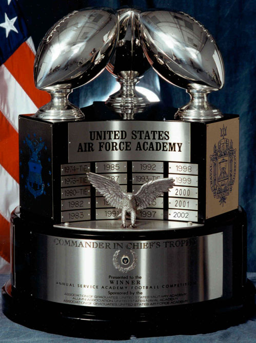 The Commander in Chief's Trophy is awarded annually to the winner of the service academy games featuring the United States Military Academy, United States Naval Academy, and the United States Air Force Academy.