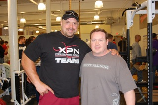 Strongman Hugo Girard, left, and powerlifting legend Ed Coan at the Eleiko Strength Summit. Girard has deadlifted 840 pounds and Coan, 901.