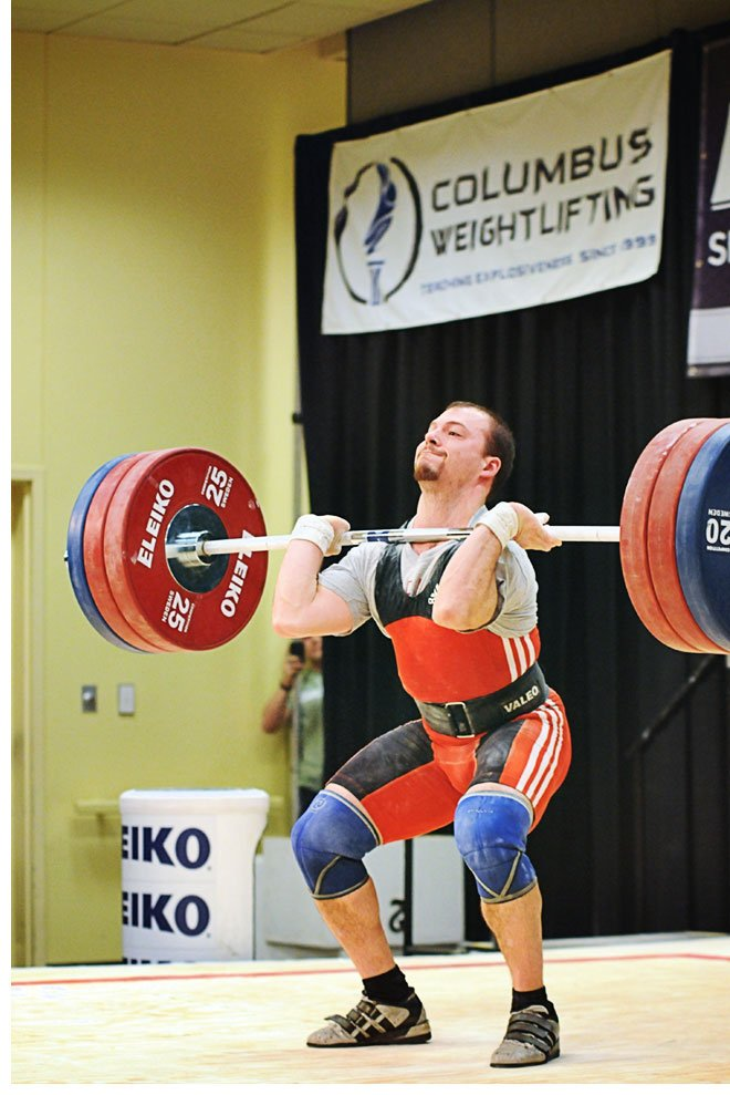 During the Senior National Weightlifting Championships on March 5, Caleb Williams broke two American records in the 69-kilo bodyweight class, a 166-kilo clean and jerk and a 294 total. The performance earned him $2,000 from the Poliquin Record Incentive Program. Bruce Klemens photo.